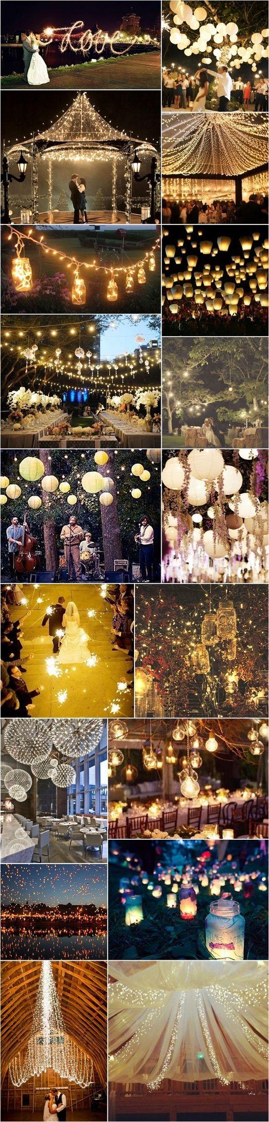 I LOVE LIGHTS!! Wedding lights. Wedding Ideas. Reception Ideas.