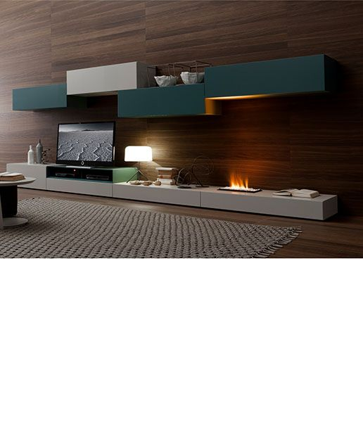 Antea Seattle floating entertainment center with fireplace