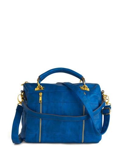 bold blue handbag / modcloth: Charmer Bag, Handbags, Blue Bags, Color, Quilts, Vintage Bag, Purses, Retro Vintage