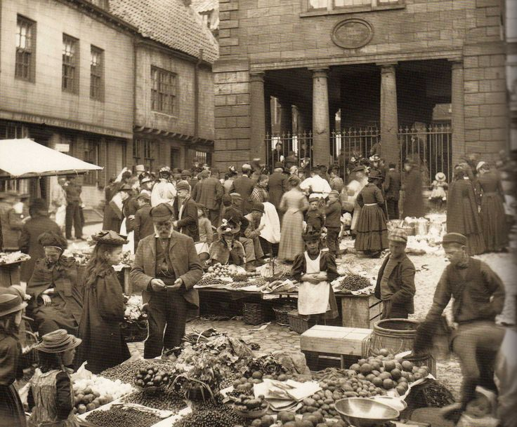 Whitby Market Place with the Town Hall in the background - Whitby - North Yorkshire - England - Late 1800s