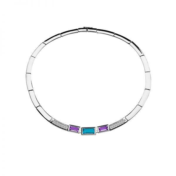 Ketting Pascale Amethist & Blue Topaz | Élique Collections | Zilveren dames sieraden