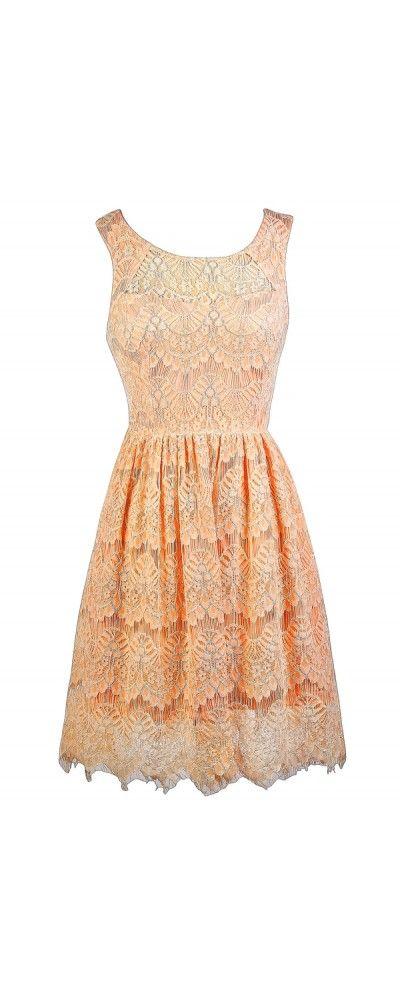 Lily Boutique Peachy Keen Lace A-Line Dress, $38 Peach Lace Dress, www.lilyboutique.com