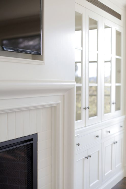 Tv Filling Fireplace Niche Over Beveled Fireplace Mantle