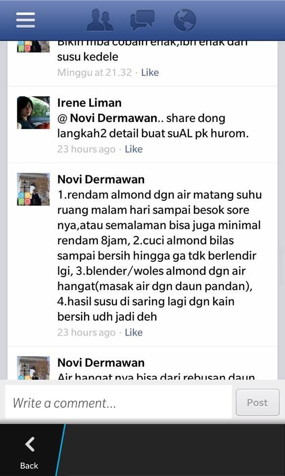 Susu Almond ala Novi Dermawan