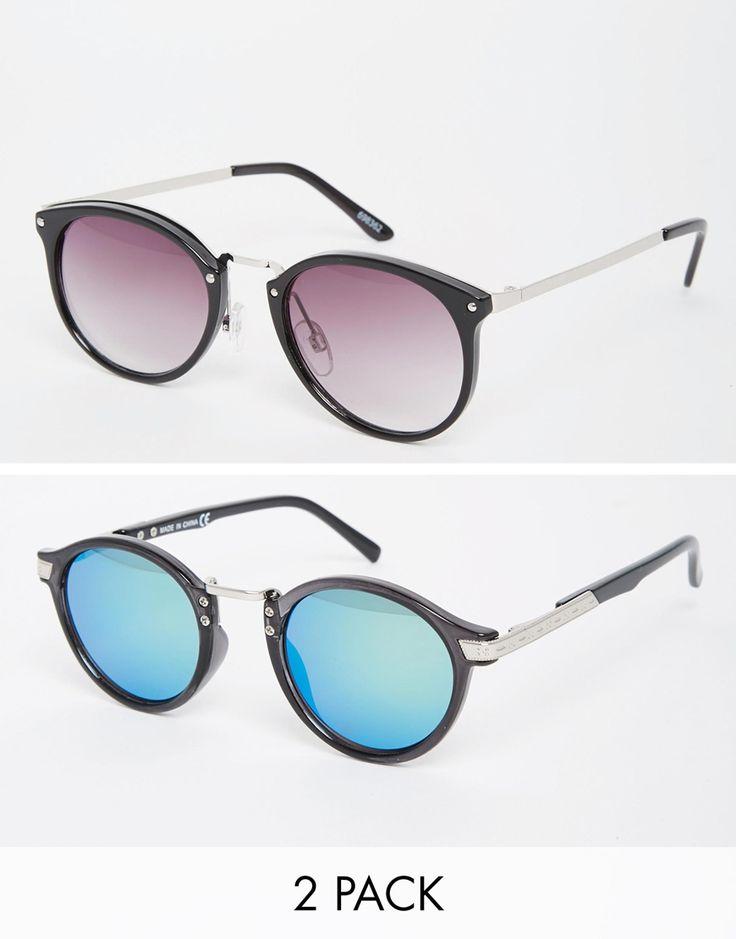 Imagen 1 de Pack de 2 gafas de sol con montura redonda y de estilo retro de ASOS, AHORRA UN 20%