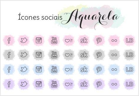 Download: Ícones sociais Aquarela | Follow your dreams