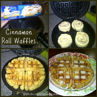 Cinnamon Roll Waffles ~ Easy Weekday Breakfast  ~  break open a tube of cinnamon rolls!  That's all you need for an amazing Cinnamon Roll Waffles breakfast. Well, that and a waffle maker. And about 10 minutes. Your kids will be happily munching a quick breakfast, and you'll be the hero!   Instructions @: http://modernchristianhomemaker.com/cinnamon-roll-waffles-easy-weekday-breakfast/