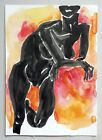 Zeichnung auf Papier Tusche Ink Aktstudie Body Nude sign. Schwarz Weiss Orange #Antiquität