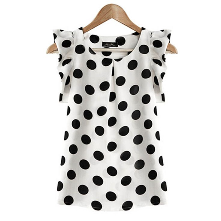 Hot Sale! New Summer Womens Ladies Chiffon Puffed Short Sleeve Dot Print Top Blouse