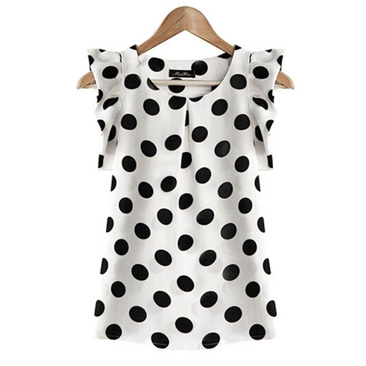 Hot Sale! New Summer Womens Ladies Chiffon Puffed Short Sleeve Dot Print Top Blouse