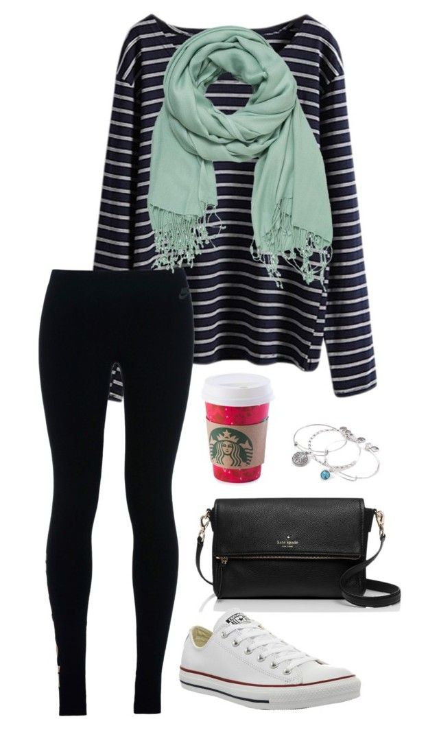 """""""I'm not old enough for her, I'm just waiting till I'm 18"""" by toonceyb ❤ liked on Polyvore featuring NIKE, maurices, Kate Spade, Alex and Ani and Converse"""
