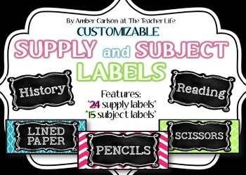 Editable Supply and Subject Bucket Labels~ New in the {Brights and Black} Classroom Decor Collection! Includes Period Labels for Middle and High School Teachers!