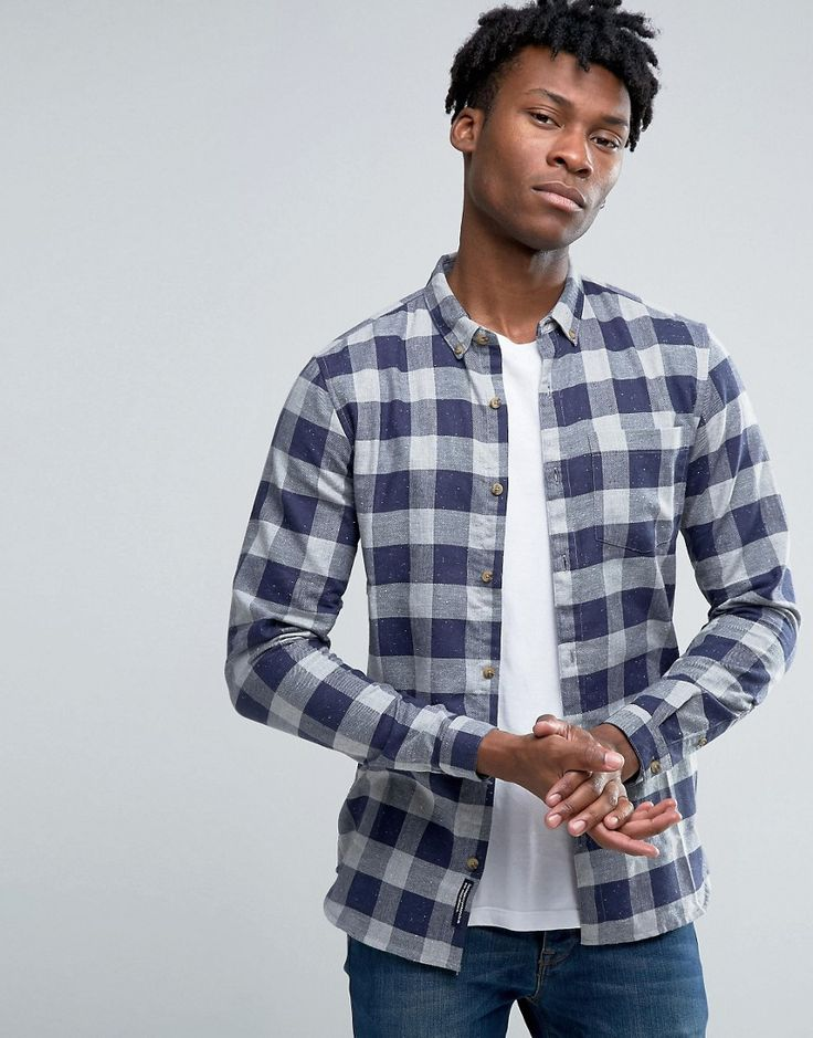 Image 1 ofPull&Bear Checked Shirt In Blue In Regular Fit