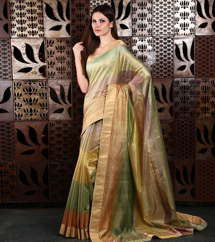 Multicoloured #Printed #Chanderi #Saree by #Rohit #Bal at #Indianroots