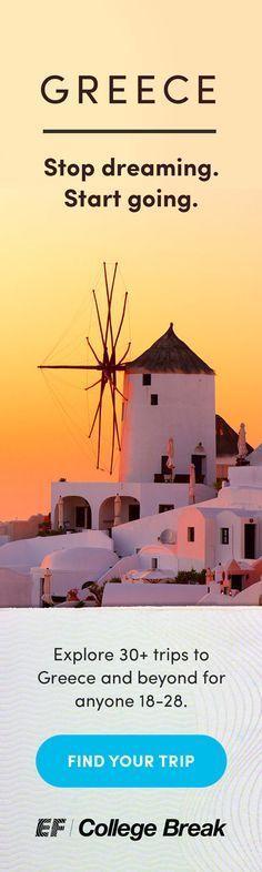 GREECE: We organize easy and affordable group trips for ANYONE 18 to 28 years old—no college required. Perfect for traveling solo or with friends, with an ideal mix of included fun and free time. Payment plans available to help make your travel dreams a reality.  Explore ancient ruins in Athens and kick back on the islands of Mykonos, Santorini and Paros.          See all trips to Greece at http://efcollegebreak.com