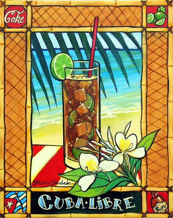 original painting cuba libre cocktail 16 X 20  by SuzySadakFineArt, $200.00