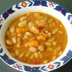 LIMA BEAN SOUP: 1 lb dry Lima Beans • 4 c Water (to soak beans) • 5 Carrots, chopped • 1 Leek, bulb only, chopped • 2 T minced Shallots • 2 stalks Celery, chopped • 4 cubes Vegetable Bouillon • 8 c Water • 2 T Olive Oil (to saute veggies)