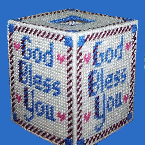 Boutique Size Tissue Box Cover GOD BLESS YOU by NiftyStitches4U, $15.00