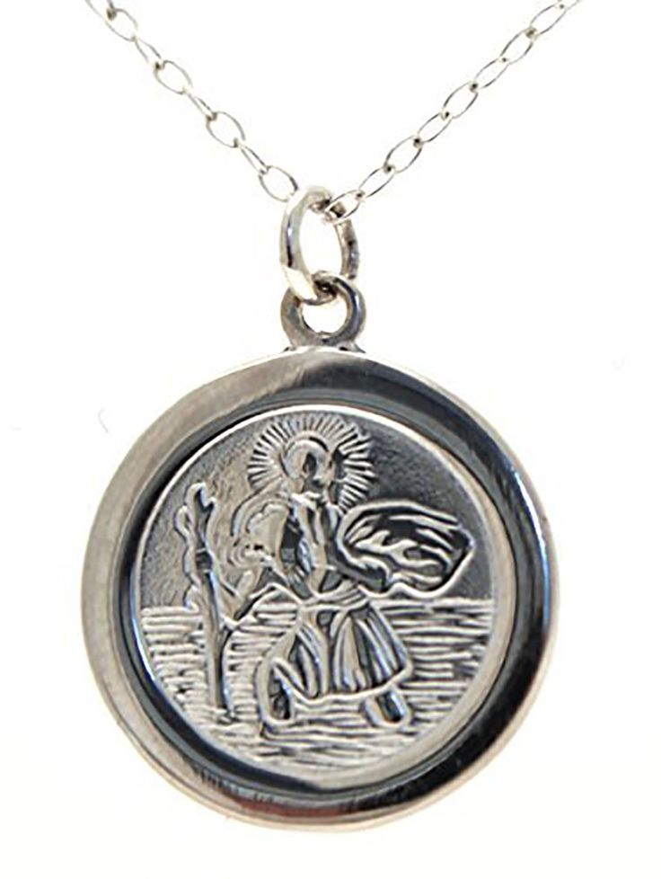 St+Christopher+Silver+Necklace+-+Exclusively+made+for+Westminster+Abbey,+this+highly+detailed+St.+Christopher+necklace+would+make+a+delightful+gift+for+a+christening+or+confirmation.+The+necklace+is+sterling+silver+and+made+in+the+UK.++St.+Christopher+is+the+patron+saint+of+travellers.+His+image+appears+on+pendants+to+show+devotion+and+as+a+request+for+his+blessing+on+journeys,+whether+they+are+spiritual+or+physical.+