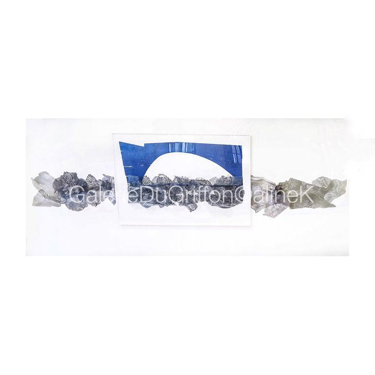 ➕MARIA BONOMI LE PONT AUX EAUX SOLIDES, 2011 Bois de fil & bois de bout & acier Dimension variable PIECE UNIQUE Xylogravure | Xylographie Signée & numérotée