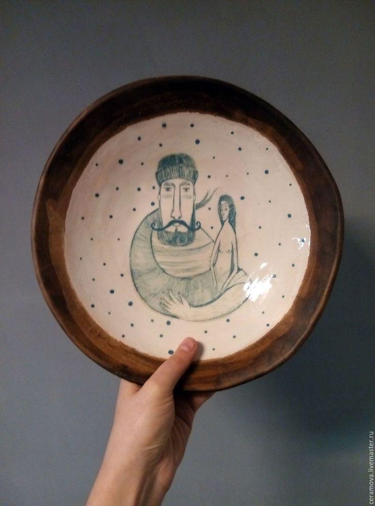 Купить Тарелка с росписью. - комбинированный, Керамика, керамика ручной работы, посуда, посуда ручной работы