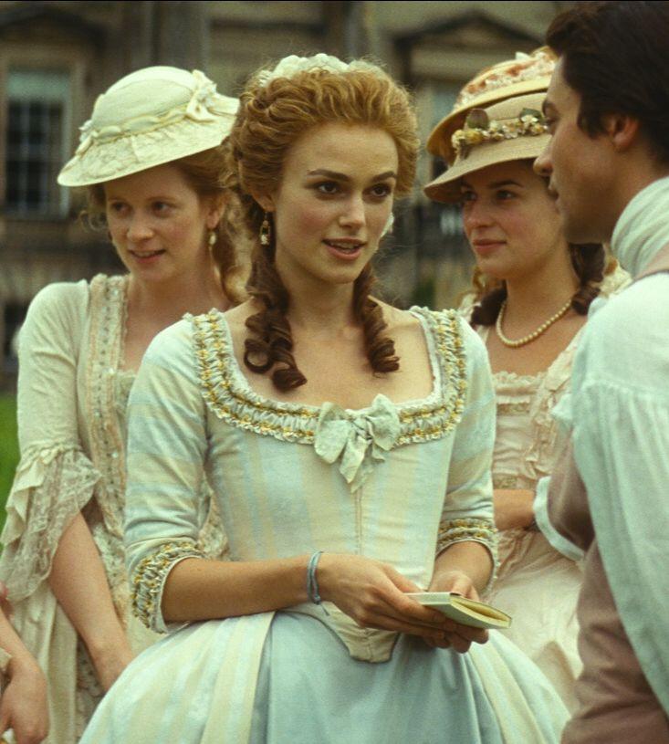 Keira Knightley as Georgiana Cavendish, Duchess of Devonshire in The Duchess (2008).