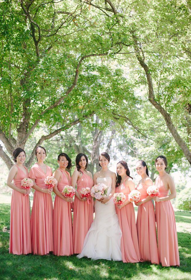Peach Pink Coral Sakura Maxi Convertible Bridesmaids Dresses by Henkaa