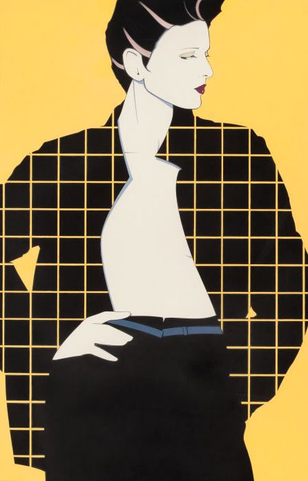 "Patrick Nagel (1945-1984), ""Geometric Plaid"", acrylic on board. (US)"