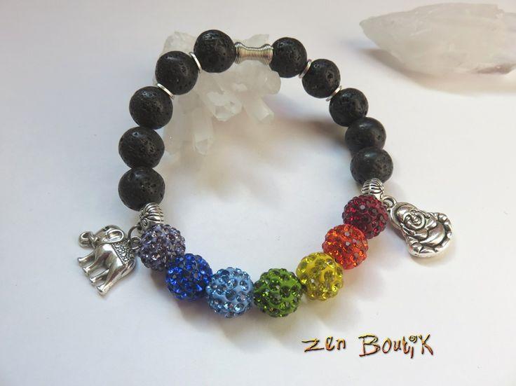 Bracelet Zen 7 chakras perles Shamballa et Pierre de Lave : Bracelet par zenboutik