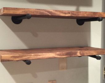 Two Industrial Pipe Shelf Brackets Shelf Bracket by PipeDelight