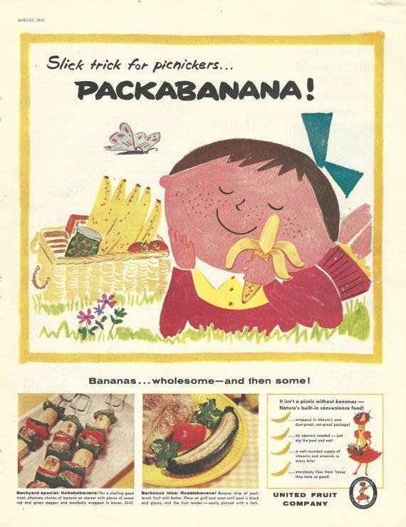 Bananas / United Fruit Company Original 1957 Vintage Print Ad w/ Color Illustration of Bananas Being Eaten on a Picnic; Chiquita Banana