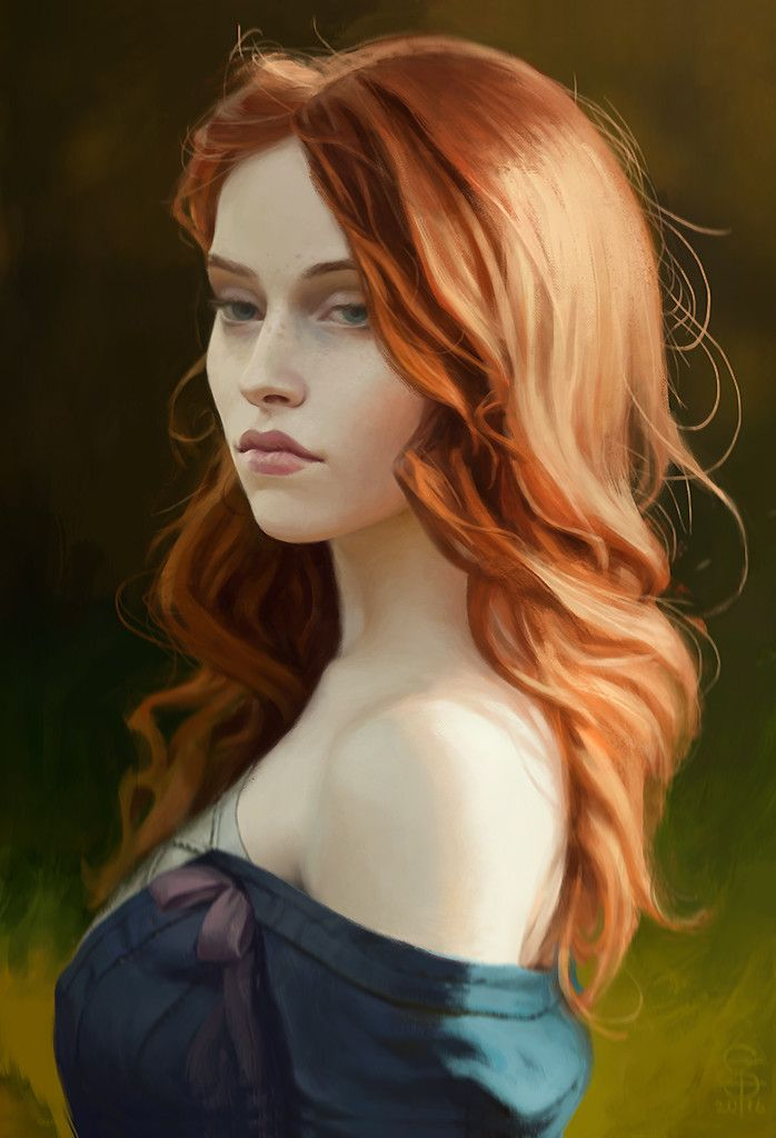 Fourteenth of the Hill (Triss Merigold from The Witcher), Paul Spitzyn on ArtStation at https://www.artstation.com/artwork/Xb80y