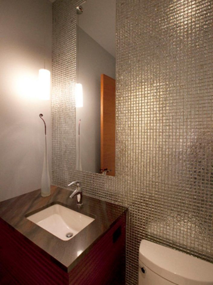 Bathroom: Textures Add Interest. small bathroom remodel. small bathroom. mosaic wall tile. frameless wall mirror. mini pendant light. brown stone vanity light.