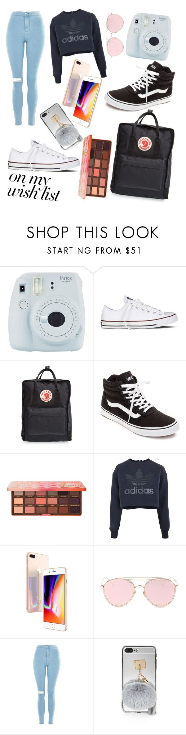 """#PolyPresents: Wish List"" by sandstorm-xox ❤ liked on Polyvore featuring Fuji, Converse, Fjällräven, Vans, Too Faced Cosmetics, adidas, Apple, LMNT, Topshop and contestentry"