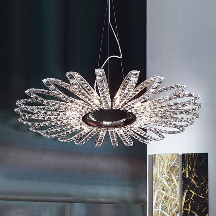 Flower Shaped Ceiling Lamp In Metal With Multi Faceted Italian Crystals.