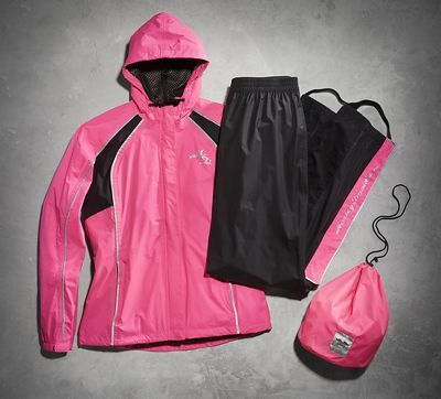 Rider visibility is a key feature in motorcycle rain suits.  The bright pink and reflective material on our women's Hi-Vis Reflective Rain Suit attracts greater attention on the road during dark, stormy weather. To defy pelting rain, we double tape seams in high-stress areas and offer an overall high waterproof level. This suit also