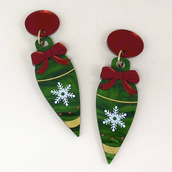 Peppy Chapette Frenchie Christmas Bauble Earrings