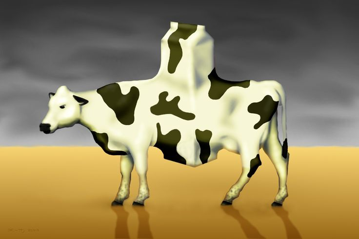 A Surrealism canvas print of a Cow and how humans use them just for products.