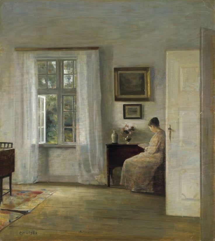 Читательница_70 x 62.5_д.,м._Частное собрание Карл Вильхельм Холсё (Carl Vilhelm Holsøe), 1863-1935. Дания