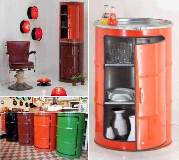 We just love recycling. It is a way to make our environment cleaner and also a fun way to design new things. So this is why we love the next idea, which transforms old oil barrels into cabinets.