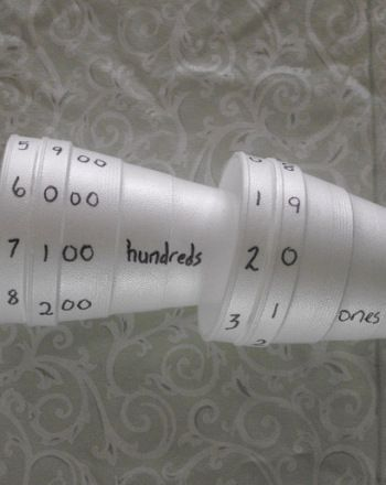 Help cement the concept of place value with this simple activity that involves creating a set of dials made from Styrofoam cups.