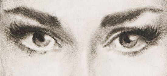 Yeux au fusain inspiration portraits pinterest - Portrait dessin facile ...