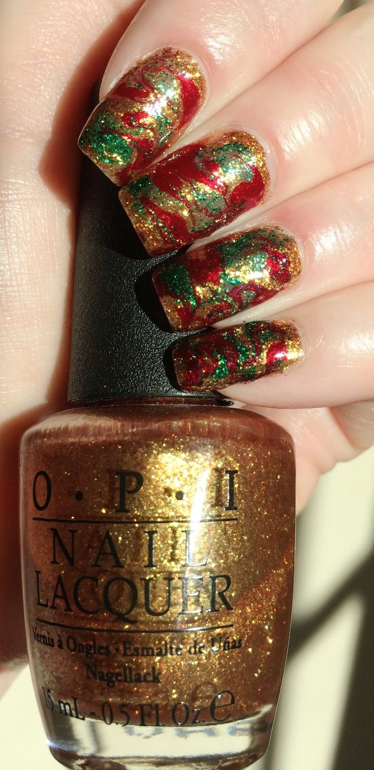 Christmas Marble Manicure - December 2015
