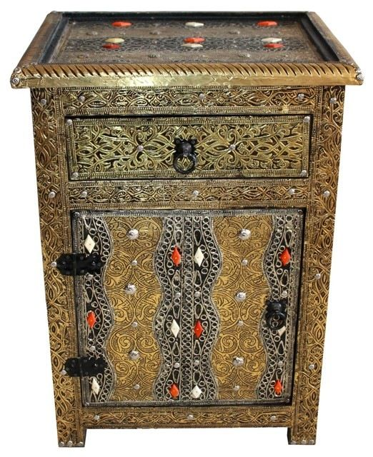 Moroccan Bronze Colored Metal and Bone Storage Cabinet mediterranean-accent-chests-and-cabinets