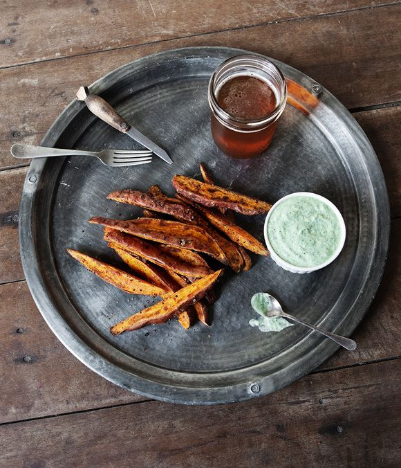 This post comes from our contributor Jill ofa Better Happier St. Sebastian. Sweet Potato Fries serves 2-4 Ingredients: 2 sweet potatoes, cleaned and cut into wedges 1 tablespoon olive oil 2 teaspoons garlic powder 1 teaspoon cumin salt and pepper Preheat oven to 425°. In a large bowl, toss sweet potato wedges with olive oil,