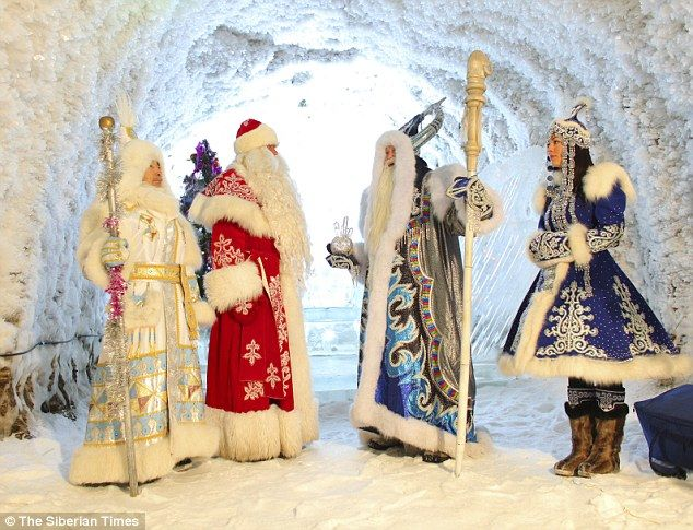 Santa summit (l to r): Ekhe Dyyl, Grandfather Frost andChyskhaan discuss who has been naughty and nice in an ice cave. Snow maiden Kharchaana accompanied Ekhe on the visit