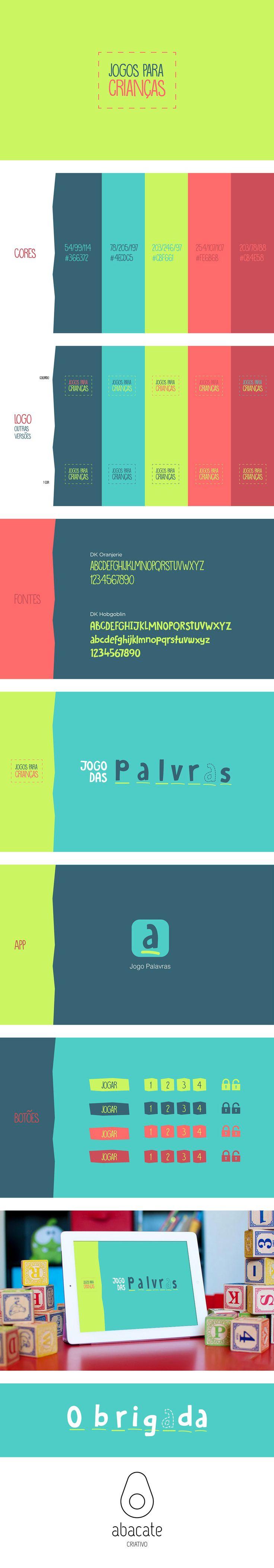 Branding desenvolvido para Jogos para Crianças, que pretende ser um um conjuntos jogos infantis. O primeiro jogo/App iOS a ser criado foi o Jogo das palavras.  Desenvolvimento: Ricardo Paiva (rpaiva.developer@gmail.com)