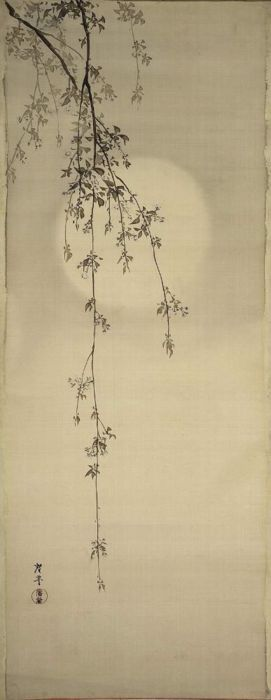 "❤ - Terasaki Kogyo, ""Cherry Blossoms & Moon""; Japanese, c.1890-1910 118.8 x 46.2cm.  unmounted; ink and light colour on silk.  Museum of Fine Arts, Boston"