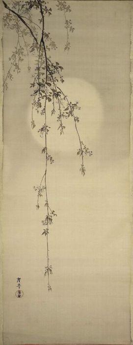 "Terasaki Kogyo, ""Cherry Blossoms & Moon""; Japanese, c.1890-1910 118.8 x 46.2cm.  unmounted; ink and light colour on silk.  Museum of Fine Arts, Boston"