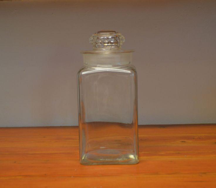 Vintage glass apothecary jar Dakota tall medium square jar kitchen storage jar by MaAndPasAttic on Etsy